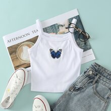 Butterfly Embroidered Rib-Knit Cami Top
