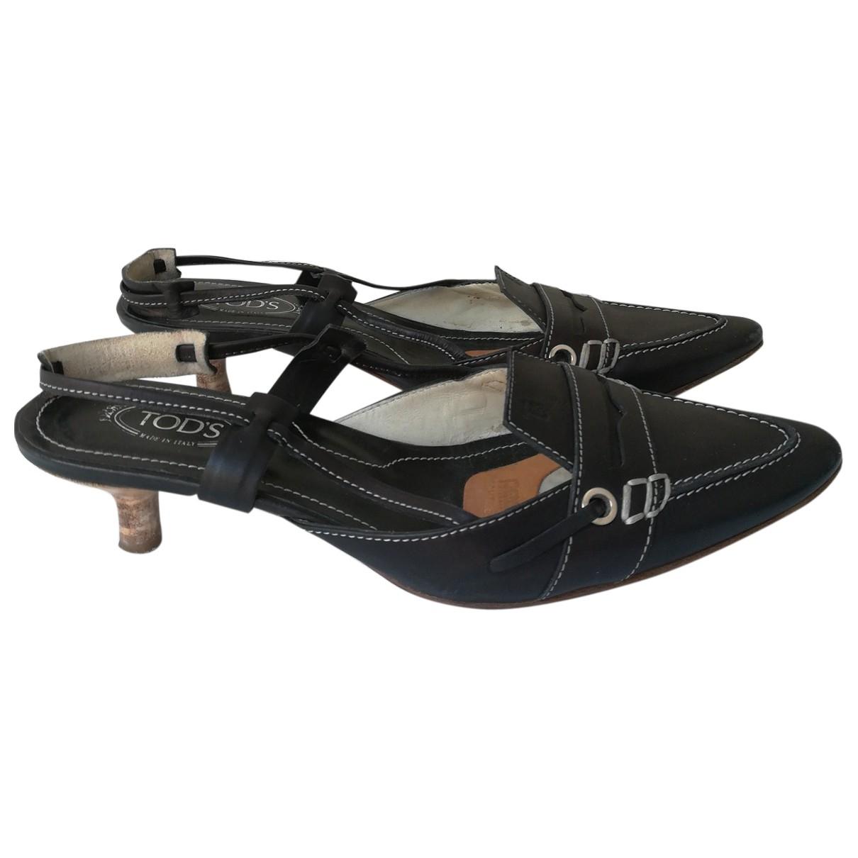 Tod's \N Black Leather Heels for Women 36.5 IT