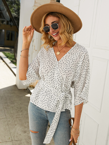 Yoins Belt Design Polka Dot V-neck Half Sleeves Blouse
