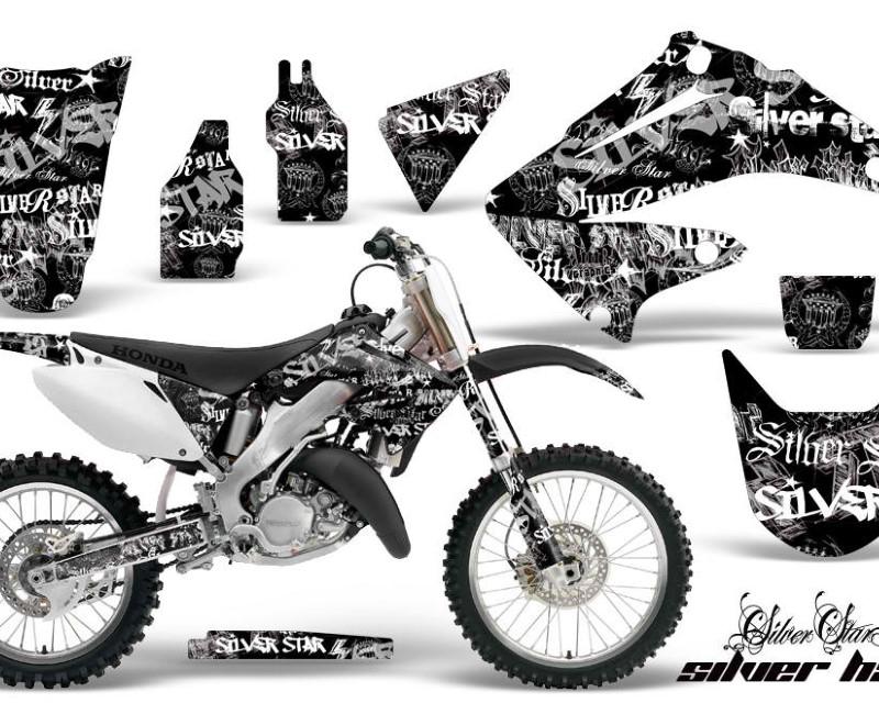 AMR Racing Dirt Bike Graphics Kit Decal Wrap For Honda CR125R | CR250R 2002-2008áSSSH WHITE BLACK