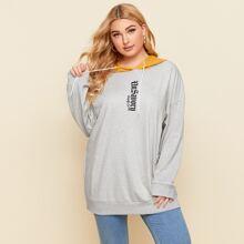 Plus Colorblock Letter Graphic Drawstring Hooded Longline Sweatshirt