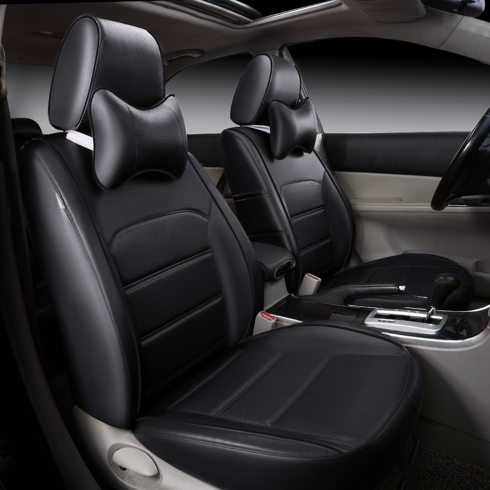 Luxury Color Block Simple Style PVC Leather Custom Car Seat Cover