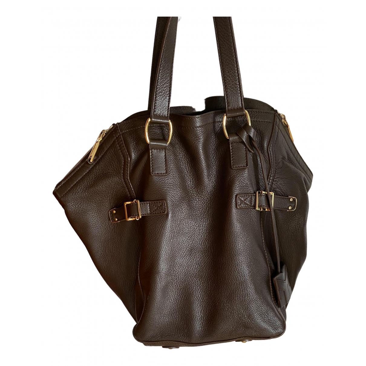 Yves Saint Laurent Downtown Brown Leather handbag for Women \N