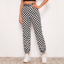 Letter Tape Waist Checkered Pants