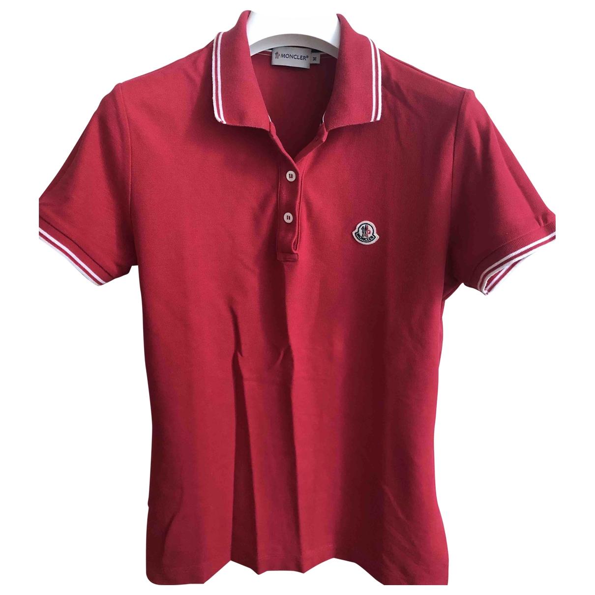 Moncler - Top   pour femme en coton - rouge