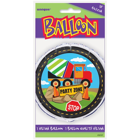 Foil Construction Truck Party Balloon, 18