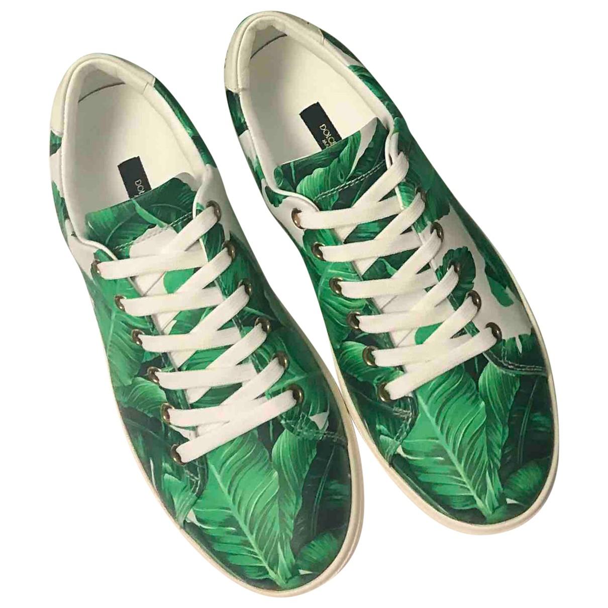 Dolce & Gabbana - Baskets   pour femme en cuir - vert