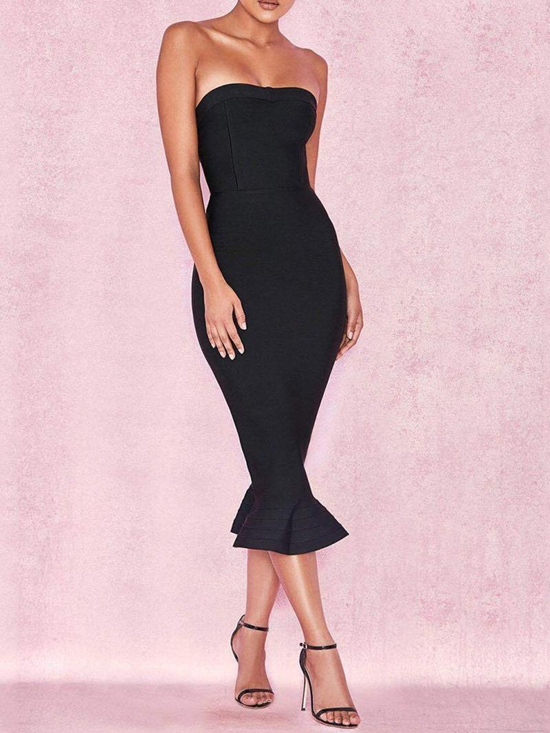 Ericdress Pencil Plain Strapless Mid-Calf Sleeveless Sexy Dress