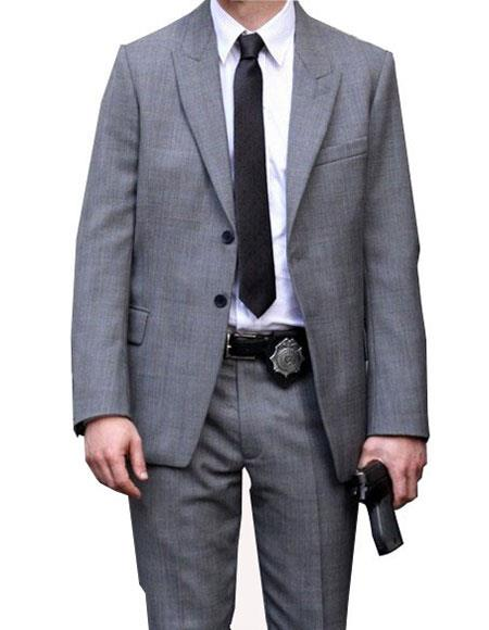 Men's Grey Single Breasted 2 Button Peak Lapel Suit
