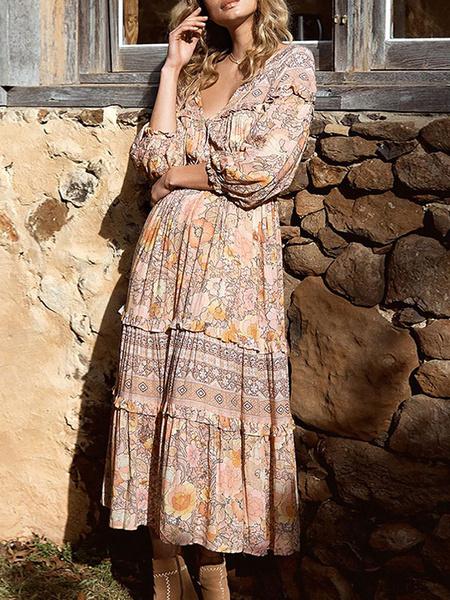 Milanoo Vestido Boho Cuello en V Manga larga Vestido estampado floral Playa