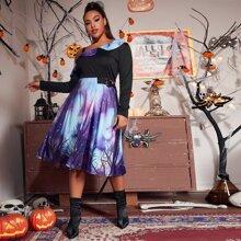 Plus Asymmetrical Neck Galaxy Print Dress