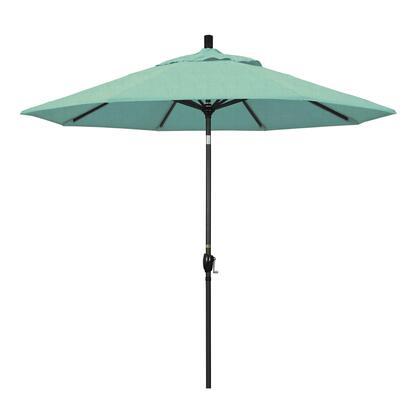 GSPT908302-48020 9' Pacific Trail Series Patio Umbrella With Stone Black Aluminum Pole Aluminum Ribs Push Button Tilt Crank Lift With Sunbrella 1A