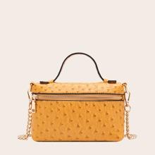 Ostrich Skin Pattern Chain Satchel Bag