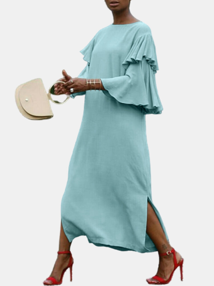 Casual Solid Color Split Ruffled Short Sleeve Plus Size Dress