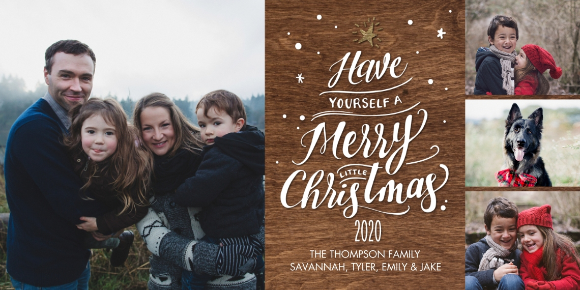 Christmas Photo Cards 4x8 Flat Card Set, 85lb, Card & Stationery -2020 Script Tree Collage by Tumbalina