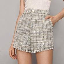 Shorts tweed bajo crudo