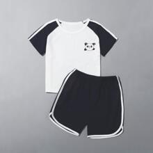 Toddler Boys Cartoon Graphic Tee With Contrast Trim Shorts PJ Set