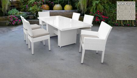 Monaco Collection MONACO-DTREC-KIT-4ADC2DCC-ASH Patio Dining Set With 1 Table  4 Side Chairs  2 Arm Chairs - Sail White and Ash