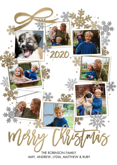 Christmas Photo Cards 5x7 Cards, Standard Cardstock 85lb, Card & Stationery -Christmas 2020 Wreath by Tumbalina