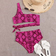 Snakeskin Cut-out One Shoulder Bikini Swimsuit