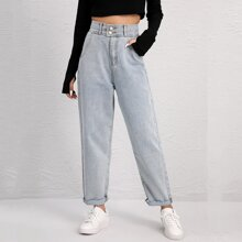High Waist Button Fly Raw Hem Mom Jeans