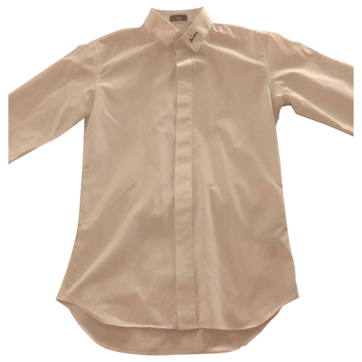 Dior Homme \N White Cotton Shirts for Men 37 EU (tour de cou / collar)