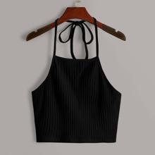 Tie Back Rib-knit Halter Top
