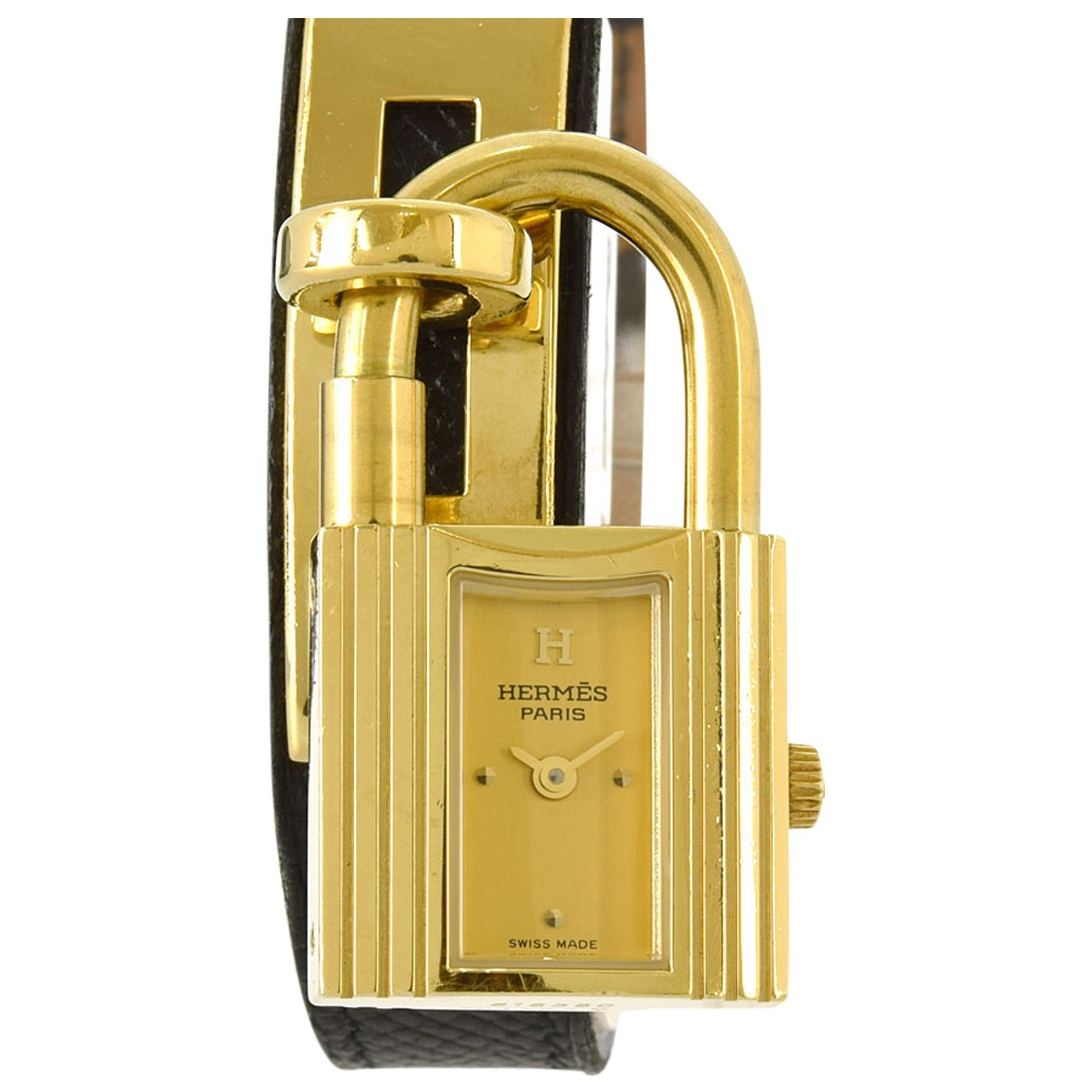 Hermes - Montre   pour femme en plaque or - dore