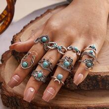 11pcs Turquoise Decor Vintage Ring