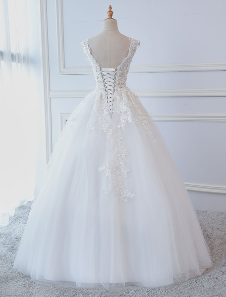 Milanoo Princess Wedding Dresses Ball Gowns Lace V Neck Sleeveless Floor Length Bridal Gowns