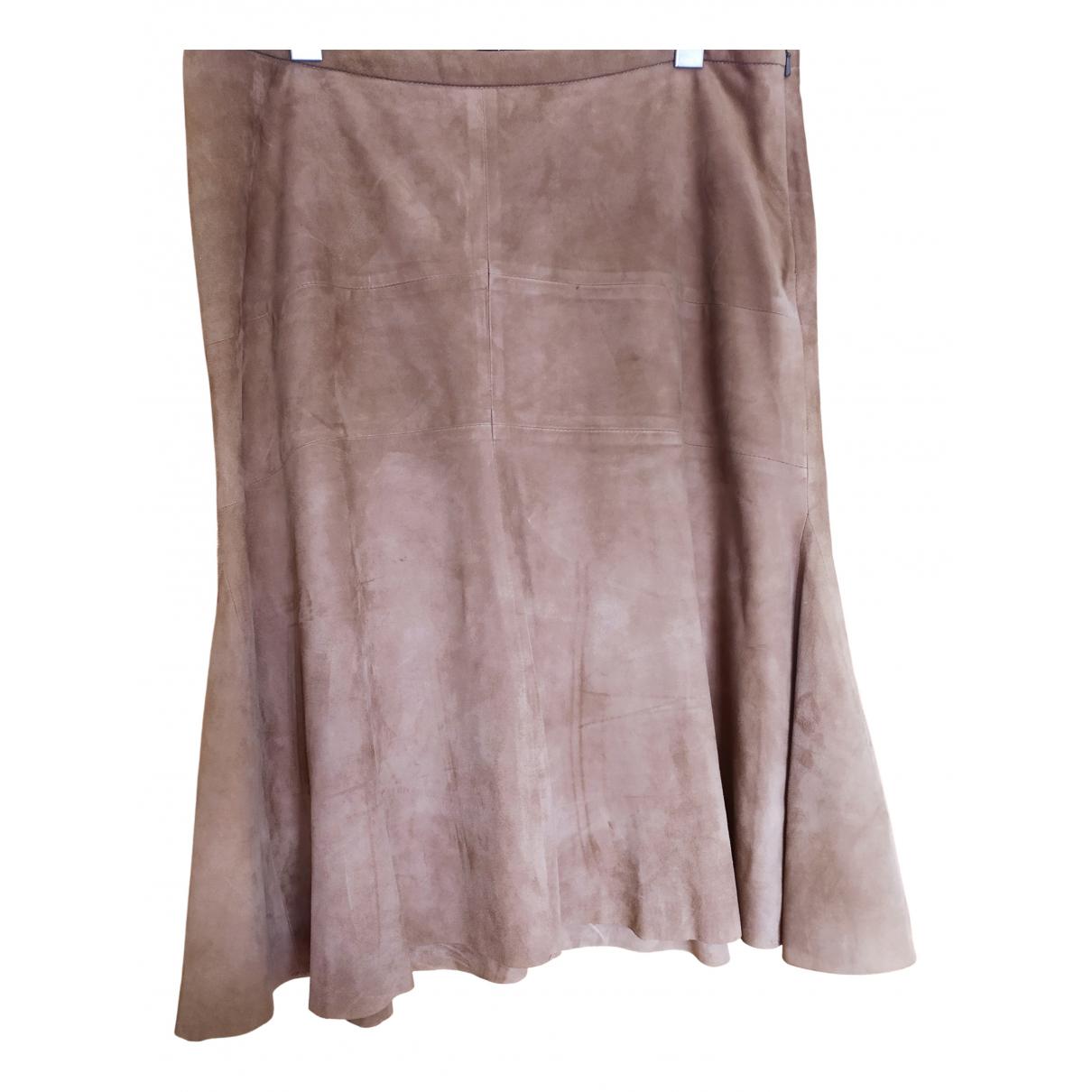 - Jupe   pour femme en cuir - camel