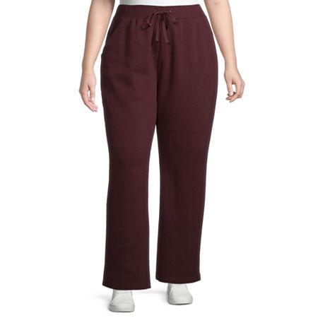 St. John's Bay Womens Mid Rise Straight Drawstring Pants - Plus, 3x , Red