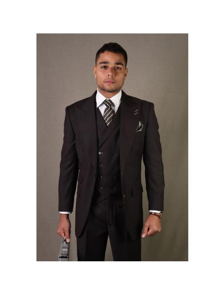 Brand Mens REGULAR ITALIAN Wool FABRIC With Vest Positano Brown