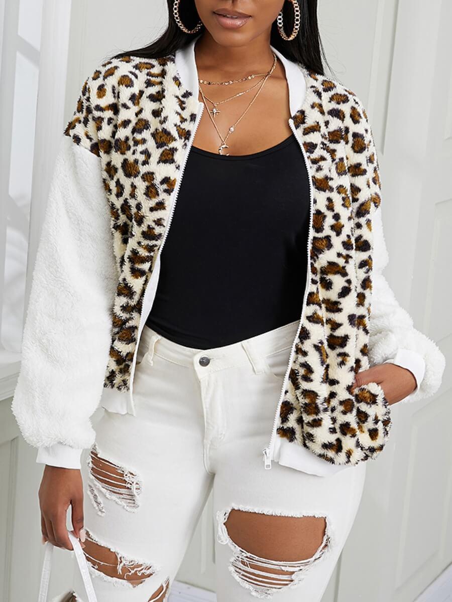 LW Lovely Chic Leopard Print Patchwork Faux Fur