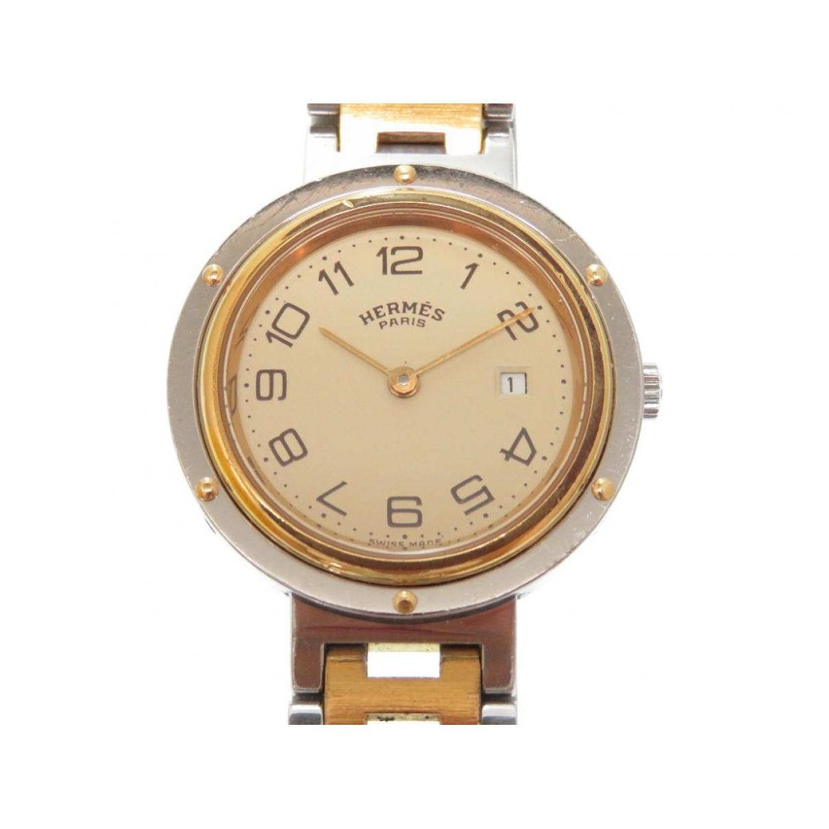 Hermes Clipper Uhr in  Silber Vergoldet
