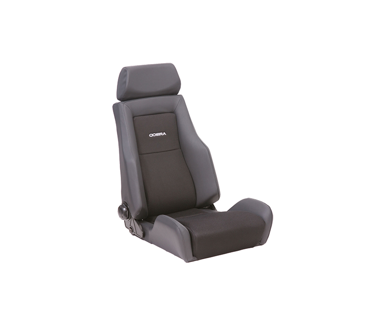 Cobra C LMS-VL-BK Lemans Reclining Seat - Black Leather w/ Vinyl back