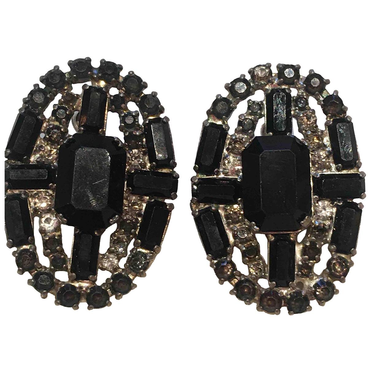 - Boucles doreilles Art Deco pour femme en verre - noir