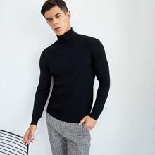 Jersey tejido con textura de cuello alto