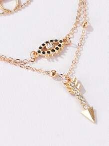 Arrow & Eye Decor Layered Chain Necklace