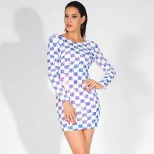Rueckenfreies figurbetontes Mini Kleid mit Pailletten