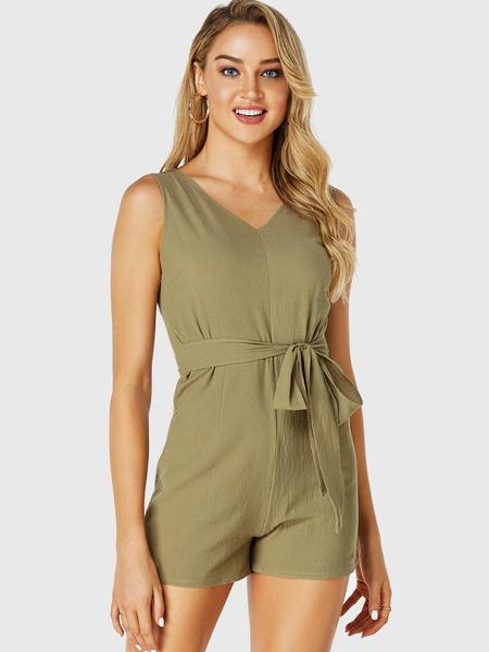 Yoins Army Green V-neck Self-tie Design Sleeveless Playsuit