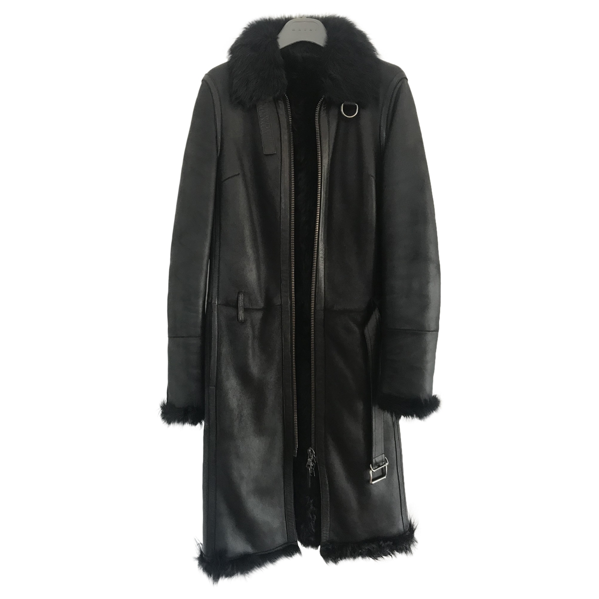 Prada \N Black Shearling coat for Women 44 IT