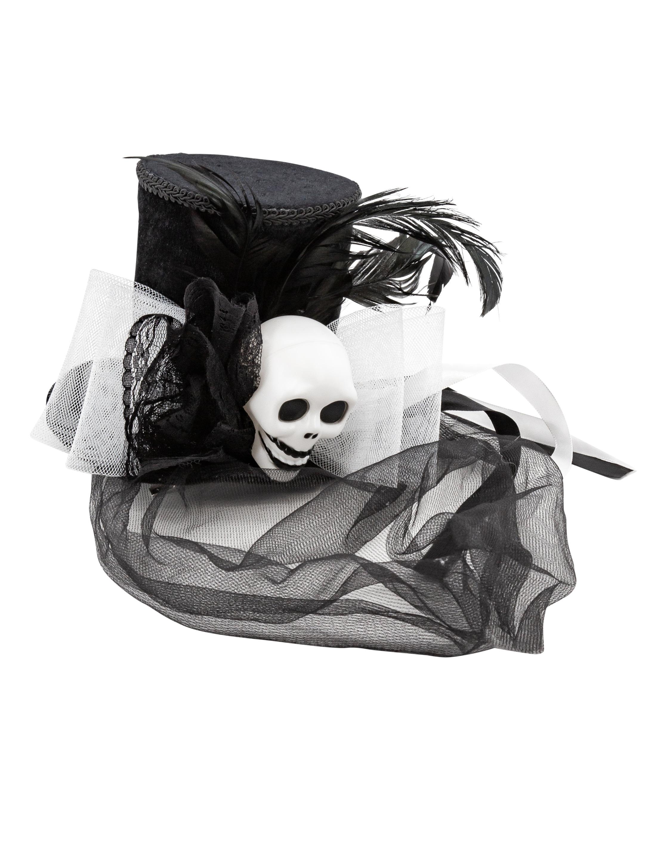 Kostuemzubehor Minihut Totenkopf schwarz/weiss mit Haarclips