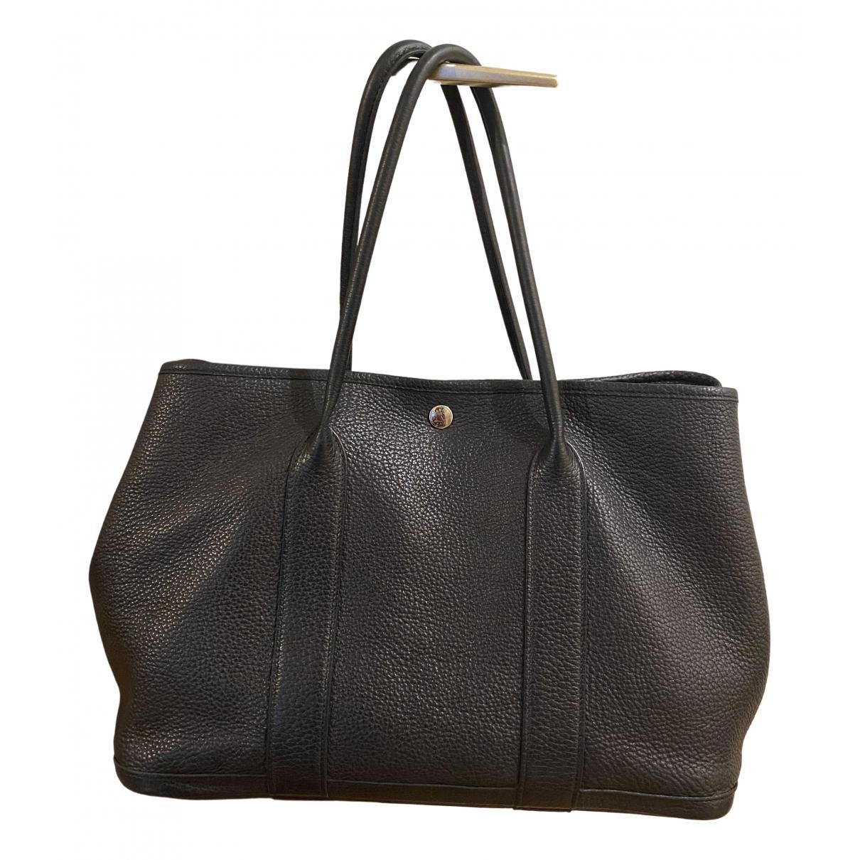 Hermes Garden Party Handtasche in  Schwarz Leder