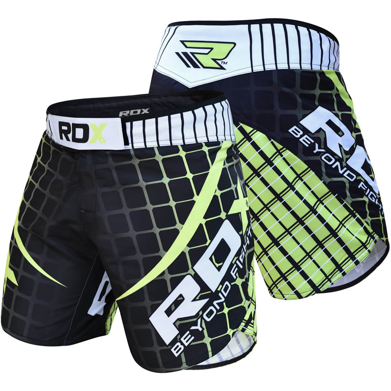 RDX R2 MMA Shorts Polyester with Flex Panel 2XL Green/White/Black