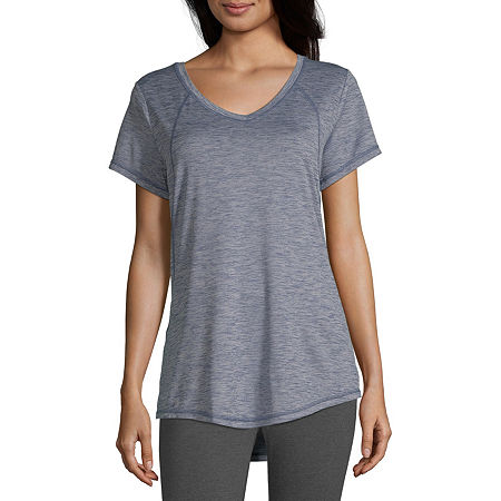 Xersion Womens V Neck Short Sleeve T-Shirt, Petite X-small , Blue