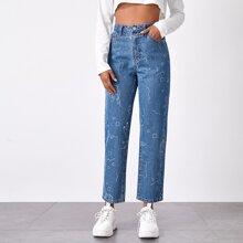 High-Waisted Hand & Geometric Straight Jeans