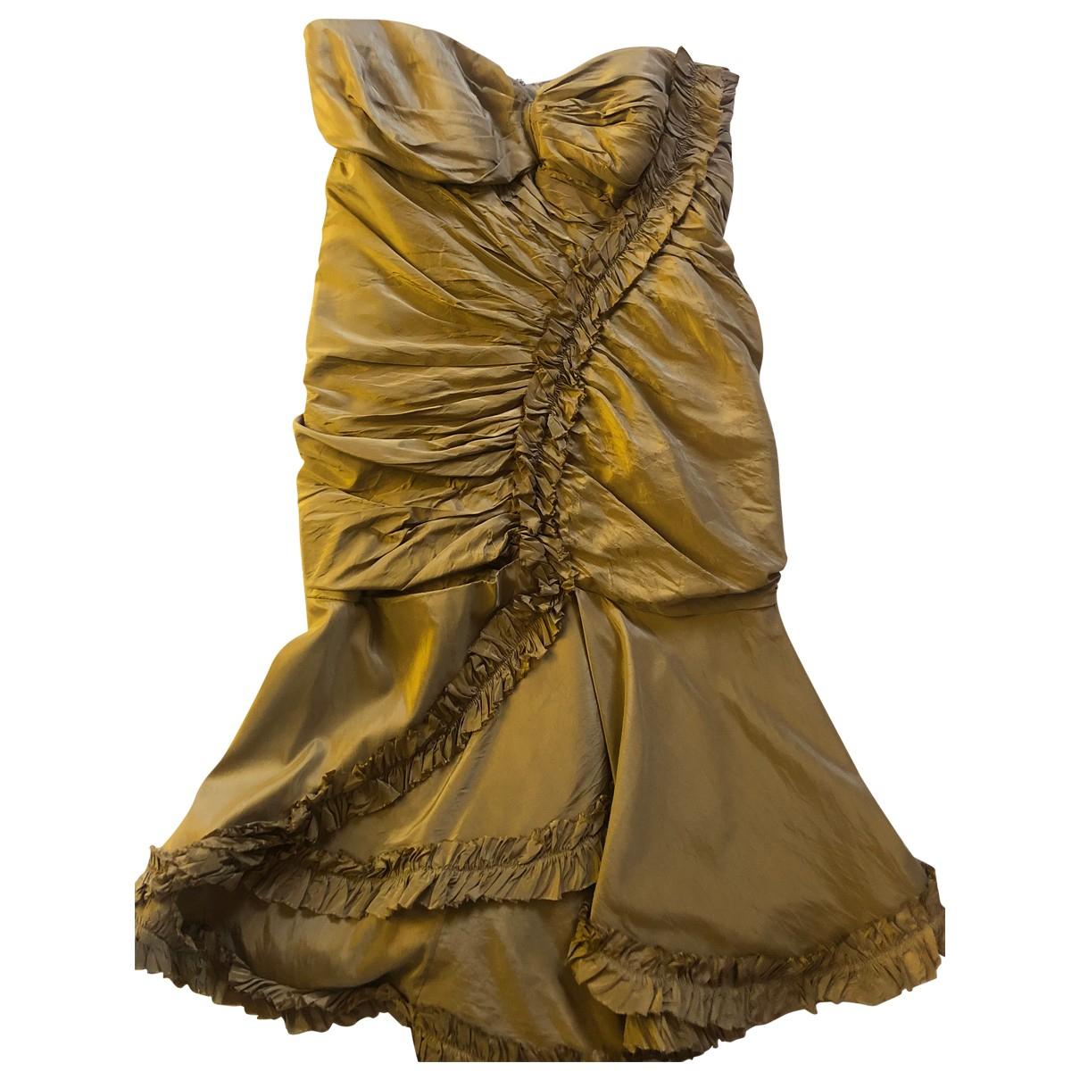 Oscar De La Renta \N Kleid in  Khaki Seide