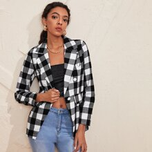 Gingham Print Double Breasted Lapel Collar Blazer