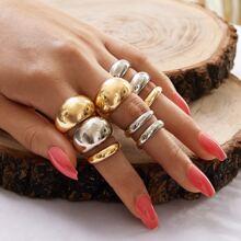 9pcs Metallic Ring
